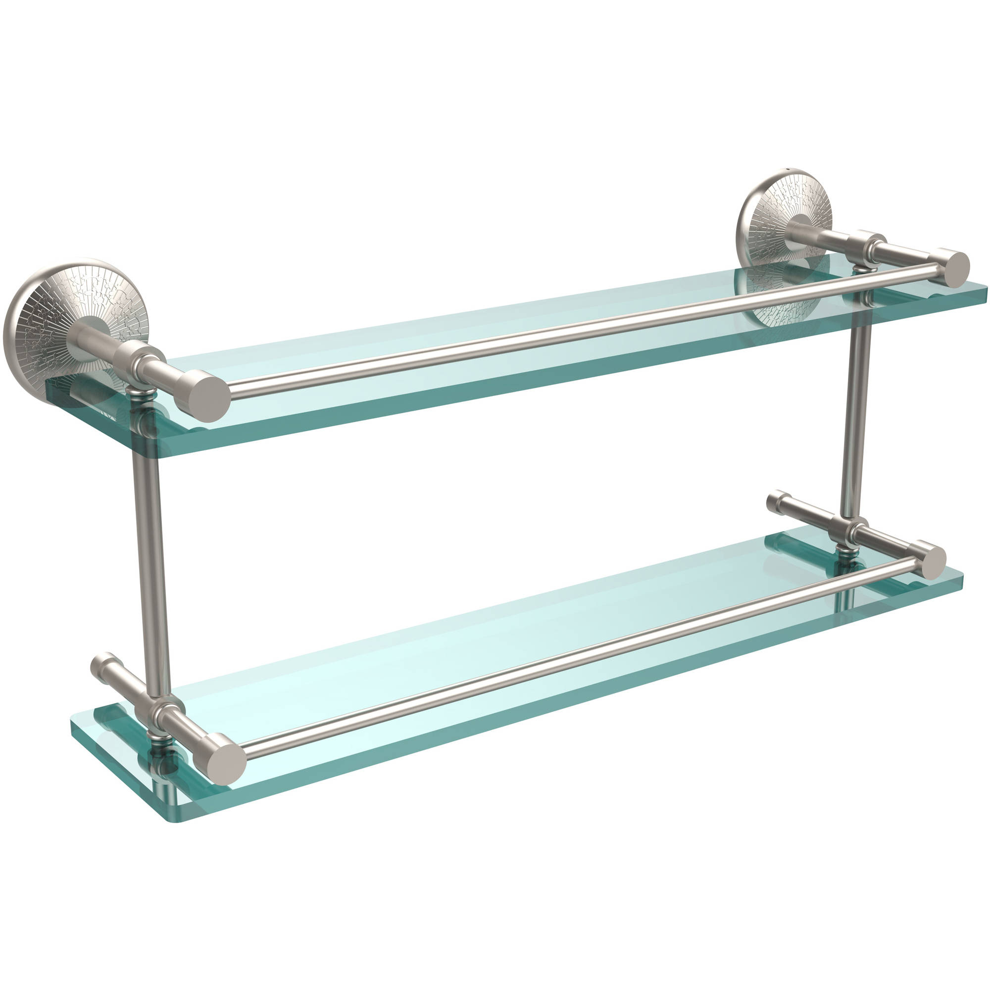 """Monte Carlo 22"""" Double Glass Shelf with Gallery Rail (Build to Order)"""