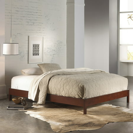 Murray Complete Wood Platform Bed with Bedding Support System and Box Design, Mahogany Finish, (Queen Complete Bed)