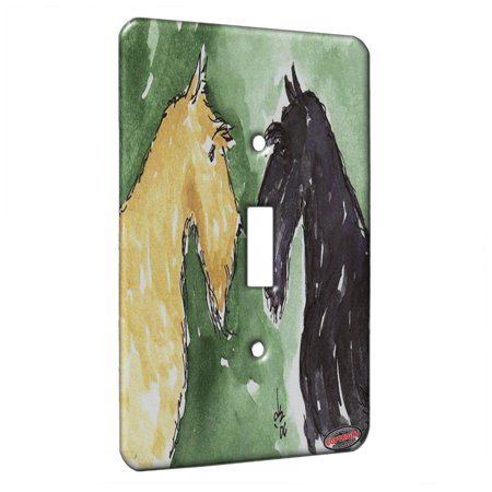 KuzmarK™ Single Gang Toggle Switch Wall Plate - Scottie Greetings Scottish Terrier Dog Art by Denise Every