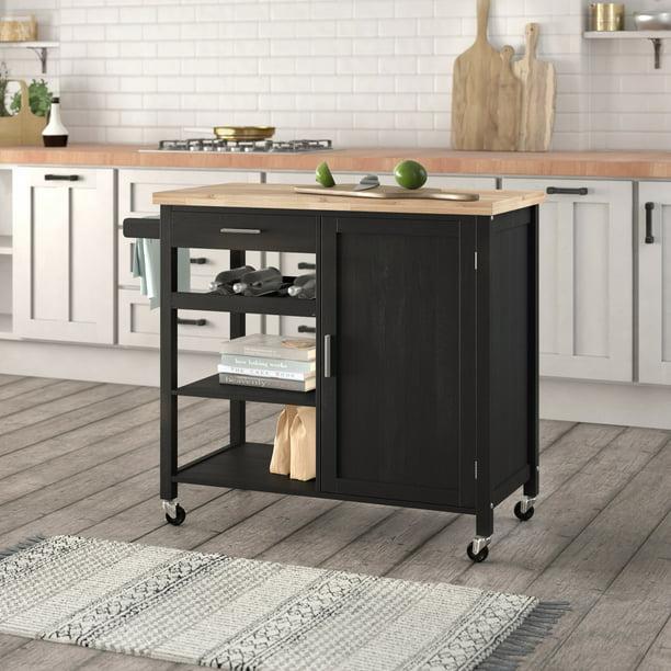 Belleze Wood Top Multi Storage Cabinet Rolling Kitchen Island Table Cart With Wheels Black Walmart Com Walmart Com