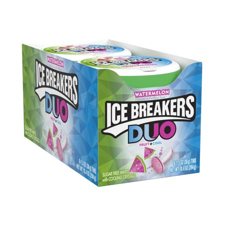 Fruit Chill Gum (Ice Breakers, Sugar Free Duo Fruit & Cool Watermelon, 1.3 Oz, 8 Ct)