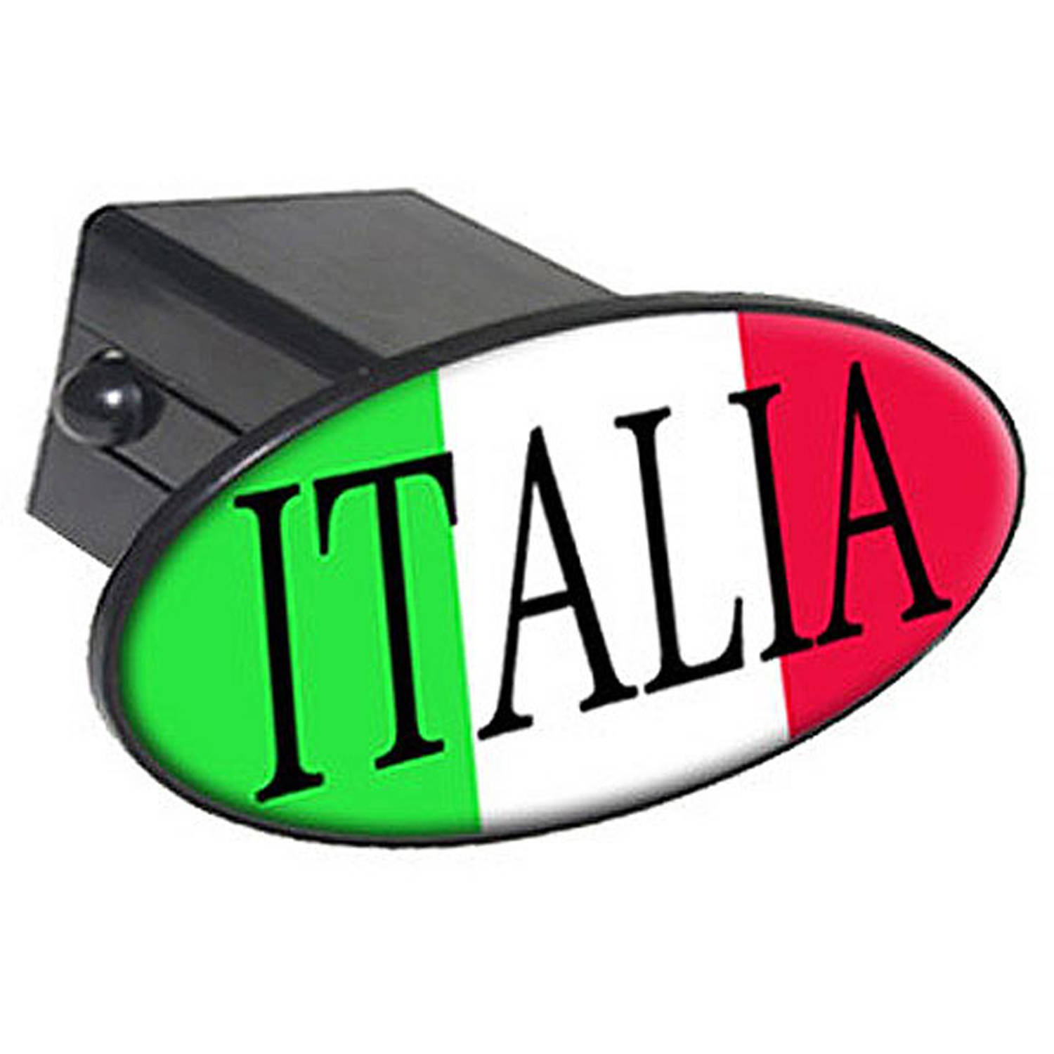 "Italia, Italy Flag, Country 2"" Oval Tow Trailer Hitch Cover Plug Insert"