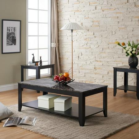 Regan Open Shelf Marble Top Coffee Table Set