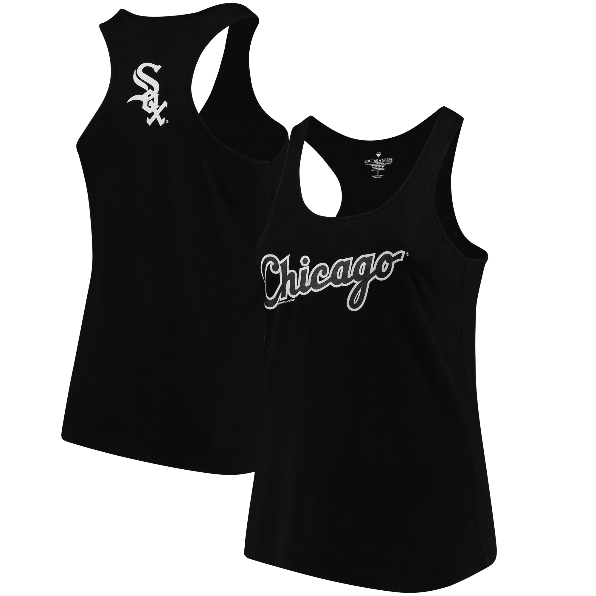 Chicago White Sox Soft as a Grape Women's Plus Size Swing for the Fences Racerback Tank Top - Black