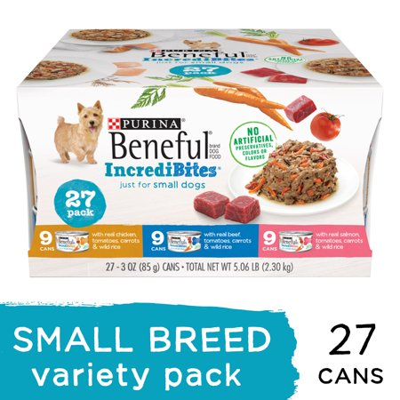 (27 Pack) Purina Beneful Small Breed Wet Dog Food Variety Pack IncrediBites 3 oz. Cans