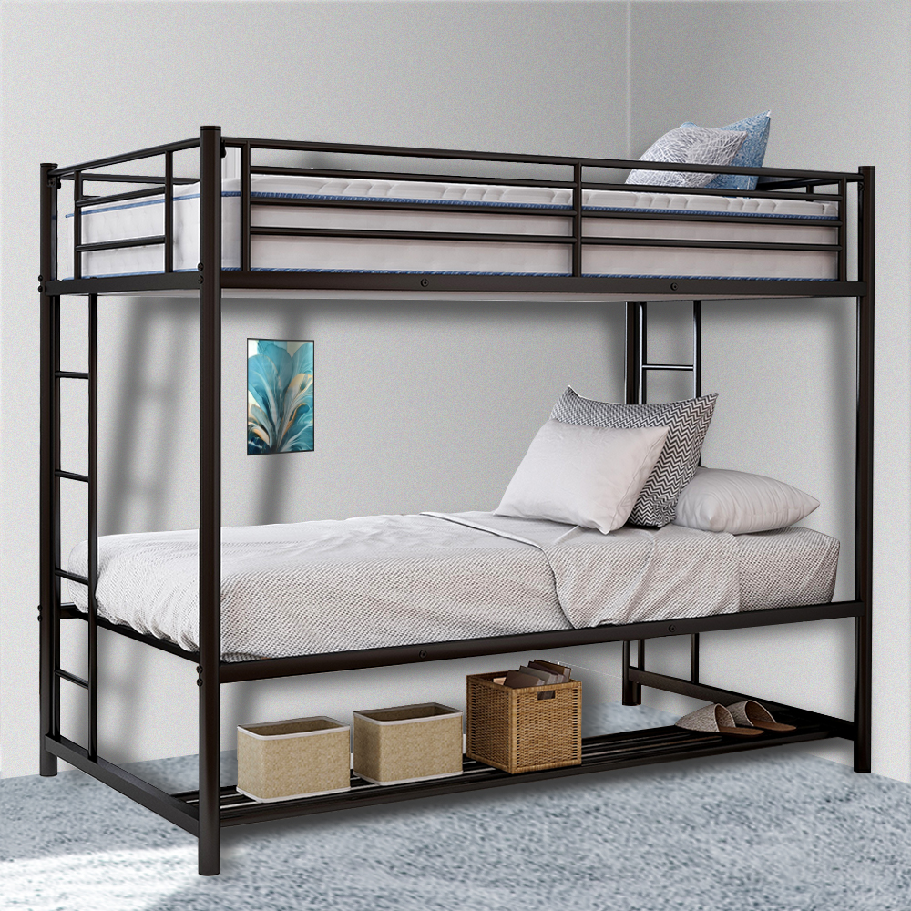 Bunk Bed, Twin Over Twin Bunk Bed with Safety Guard Rails ...
