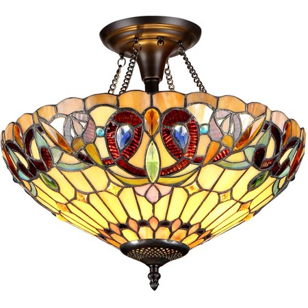 Chloe Lighting Serenity Tiffany Style 2 Light Victorian Semi Flush Ceiling Fixture With 16 Quot Shade