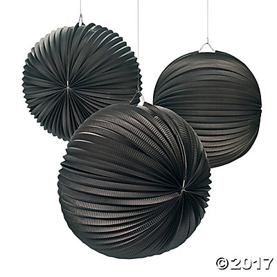 Large Black Hanging Paper Lanterns