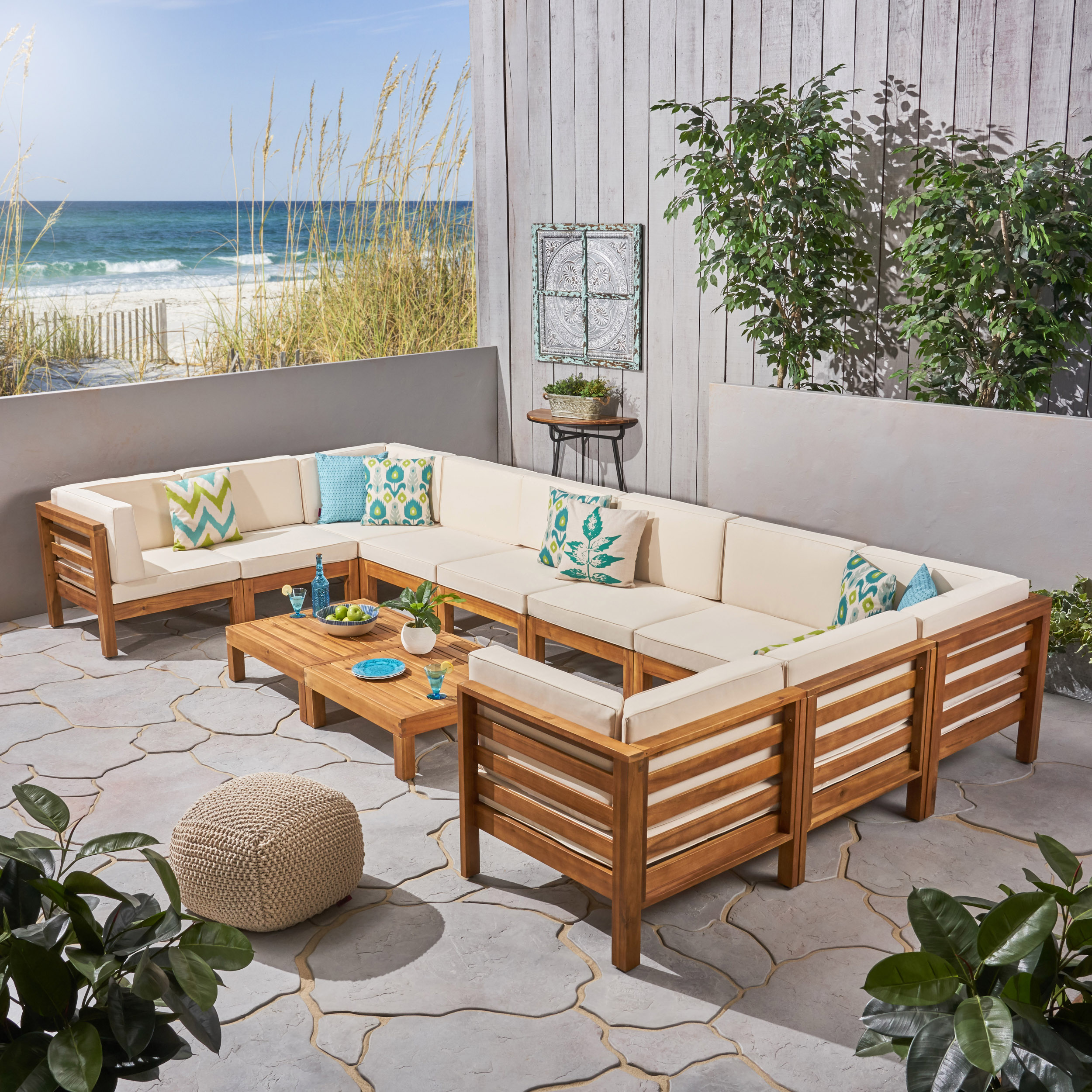 Frankie Outdoor 12 Piece Acacia Wood U-Shaped Sectional Sofa Set with Coffee Tables and Cushions, Gray, Dark Gray