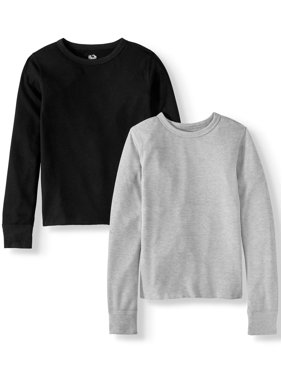 Fruit of the Loom Boys Undershirts, Super Soft Mini Waffle Baselayer Thermal Tops - 2 Pack, (Little Boys & Big Boys)