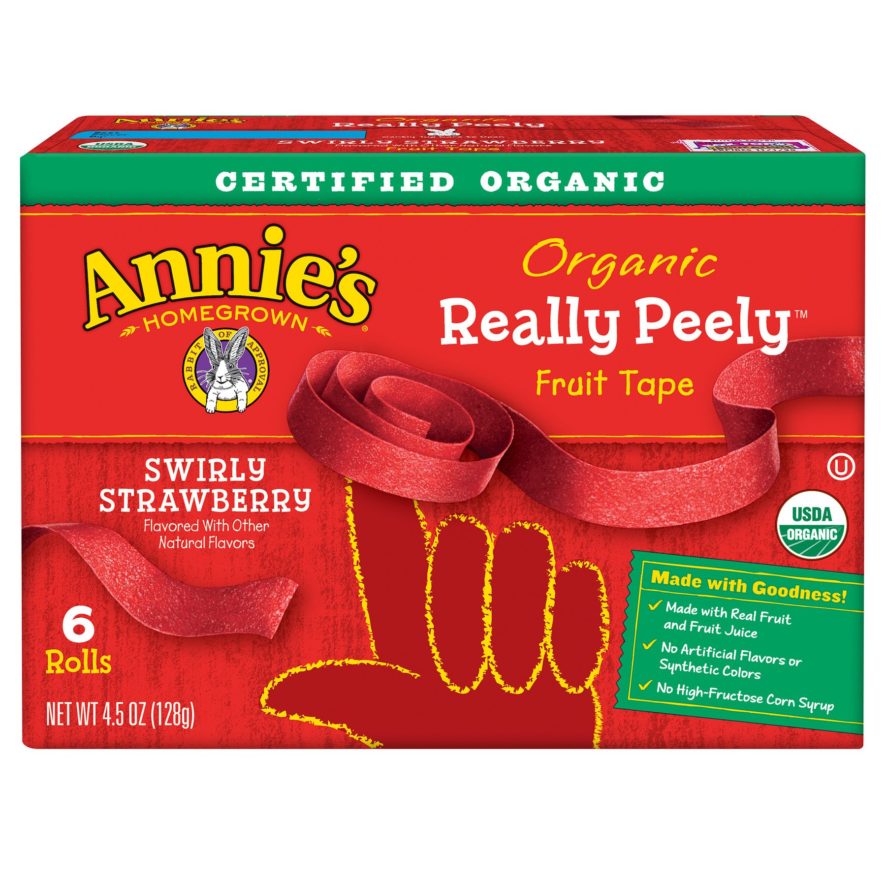 (2 Pack) Annie's Organic Really Peely Fruit Tape Swirly Strawberry 6 ct 4.5 oz