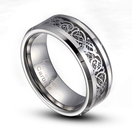 Inlaid Opal Ring (8mm Silver Or Gold Tungsten Carbide Dragon Inlaid Comfort Fit Ring 8-14 Half Size Available )