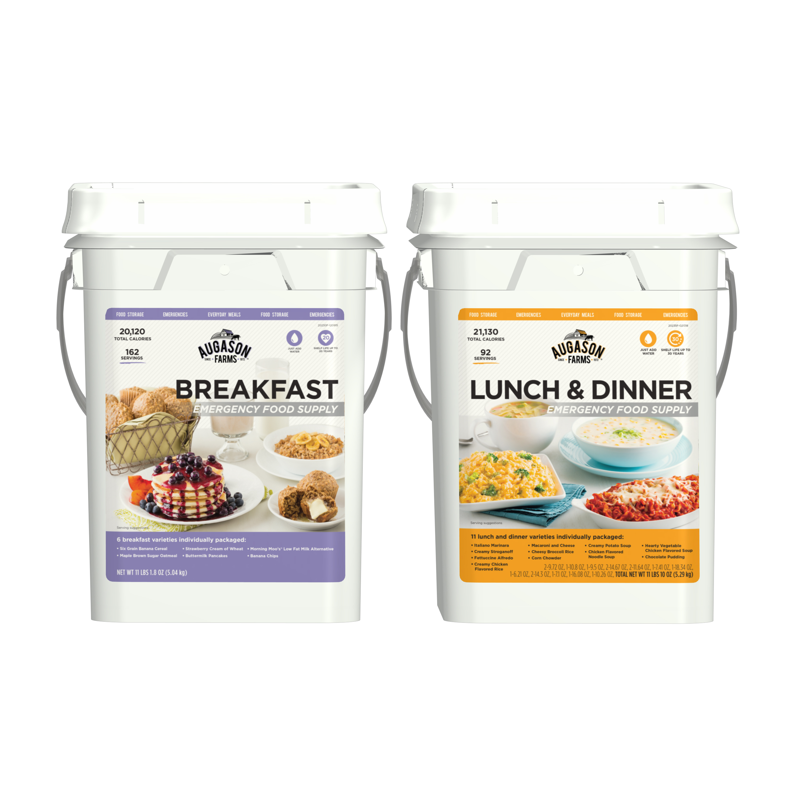 Augason Farms Breakfast, Lunch & Dinner Pail Combo Survival Emergency Food