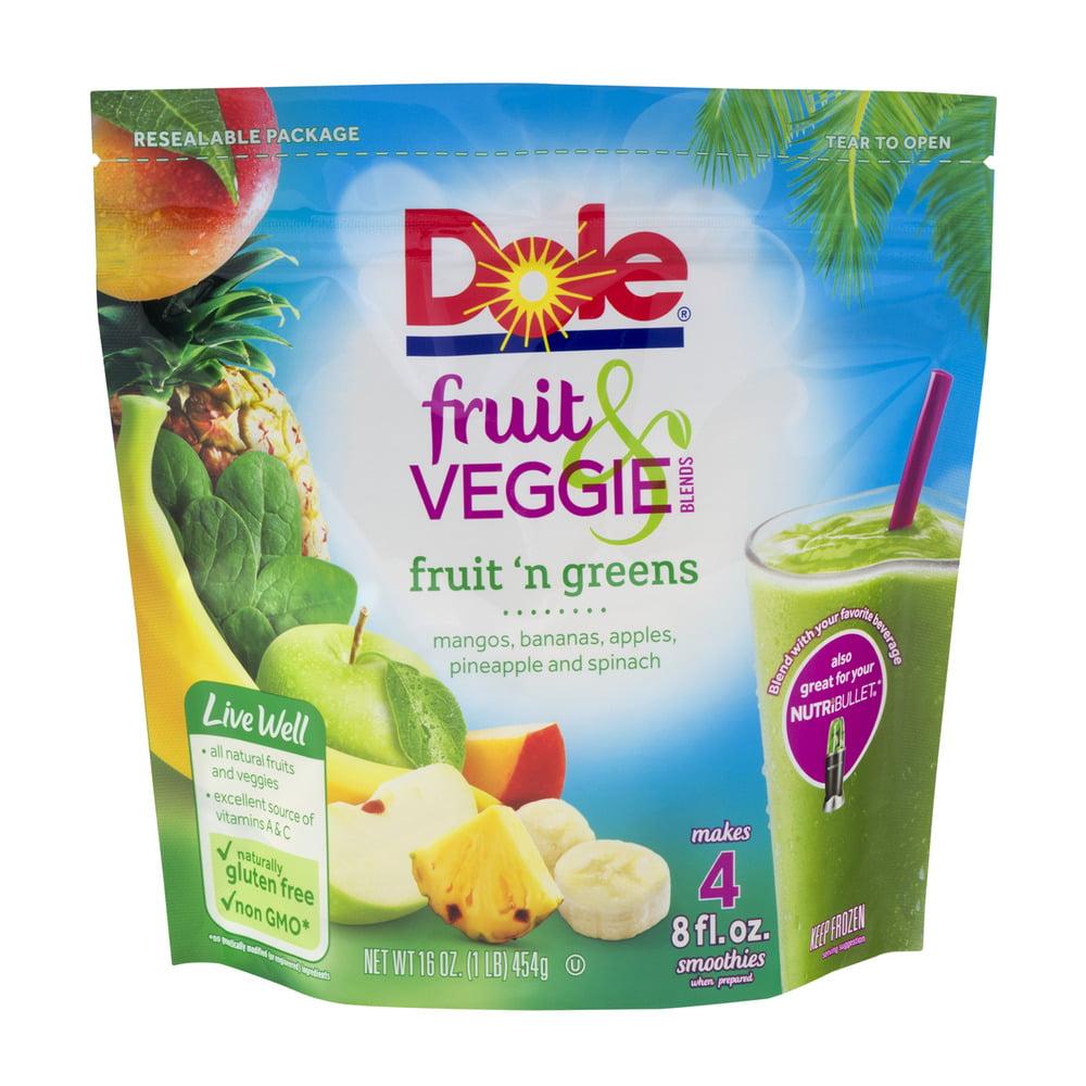 Dole Fruit Veggie Blends Fruit N Greens Smoothies 16 Oz Walmart Com Walmart Com