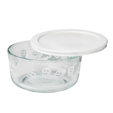 Storage Plus 4 Cup Halloween Ghost Dish w/ White Lid, This Pyrex Lid will fit 5-3/4 Diameter Glass Bowls By Pyrex