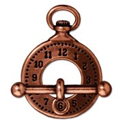 Copper Plated Lead-Free Pewter Clock Toggle Clasp 29mm (1)