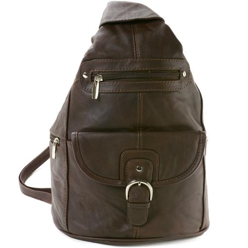 Womens Leather Backpack Purse Sling Shoulder Bag Handbag 3 in 1 Convertible New Dark Brown One Size