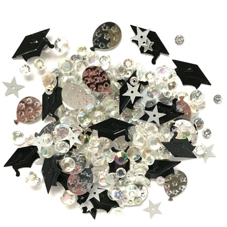 Buttons Galore Sparkletz Commencement - Clear Acrylic Gems, Sequins, Flat Back Pearls - 3 Packs 36 Grams
