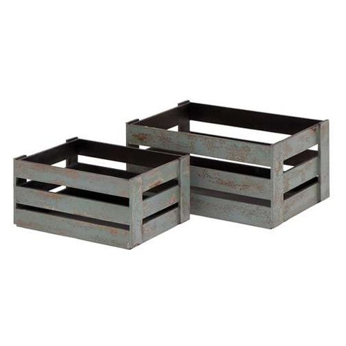 2-Pc Glazed Crate Set in Gray