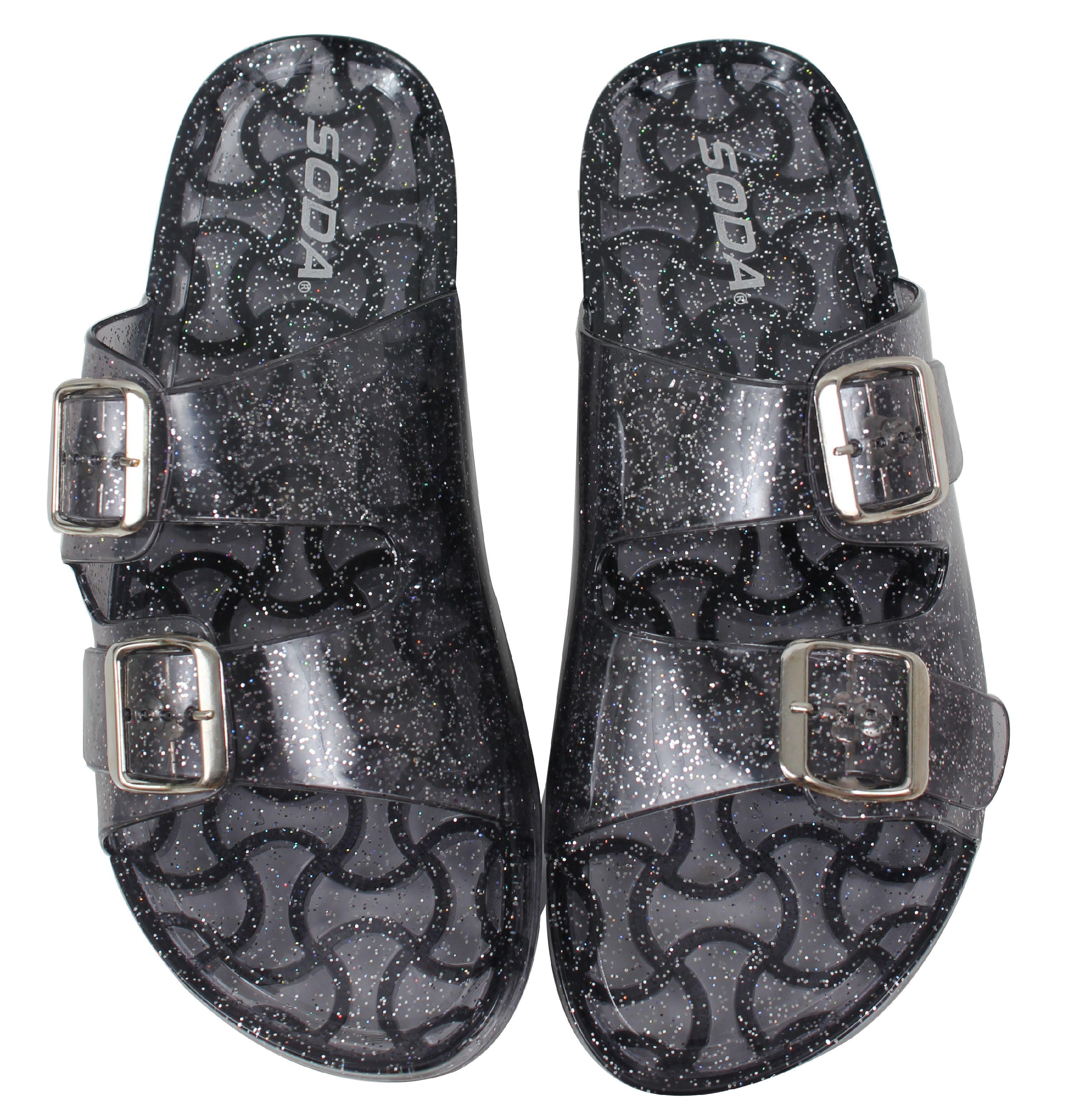 691e26d2e699 Soda Shoes - Soda Women s Open Toe Glitter Clear Double Buckle Jelly ...