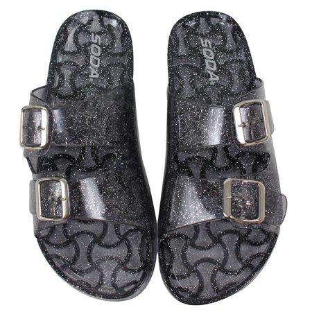 ae1d116722eb Soda Shoes - Soda Women s Open Toe Glitter Clear Double Buckle Jelly Sandal  (Smoke