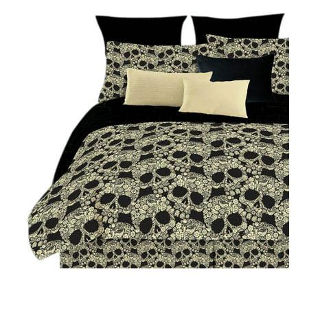 Veratex Home Decorative Bedding Flower Skulls Sheet Set D King Black Tan