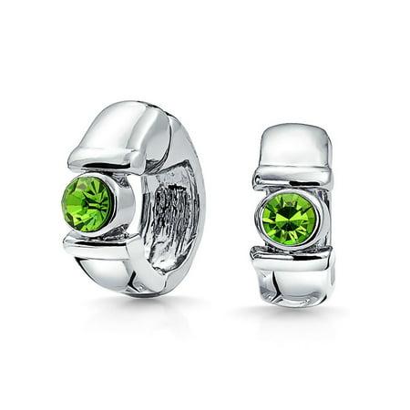 Simple Crystal Magnetic Clip On Huggie Hoop Earrings For Women Non Pierced Ears Silver Plated More (Jewelry Lot Pierced Earrings)