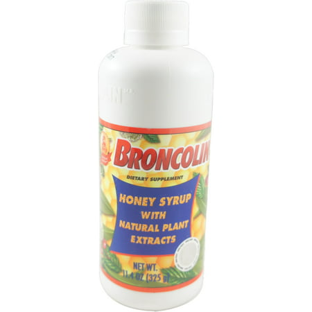Cough Relief Syrup - Broncolin Honey Cough Relief Syrup with Natural Plant Extracts Dietary Supplement, Regular 11.4 oz