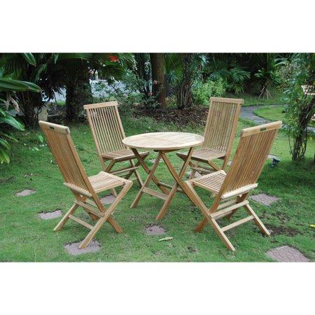 Anderson Teak Windsor Wooden 5 Piece Folding Patio Dining Set ()