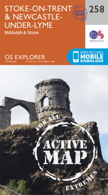 OS Explorer Map Active 258 StokeonTrent and Newcastle Under Lyme