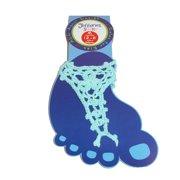 Size Medium Girls Summer Crochet Barefoot Sandal, Aqua