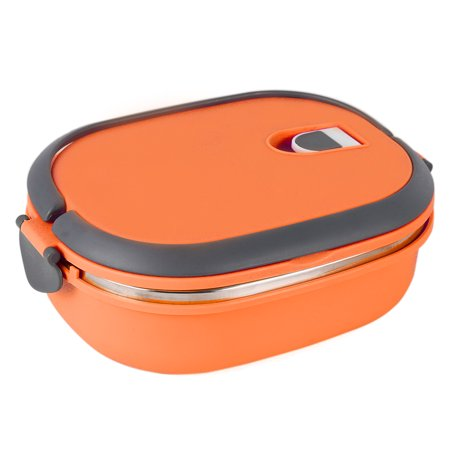 - Thermal Insulated Bento Stainless Steel Food Container Lunch Box (1 layer, Orange)