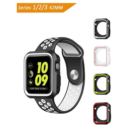 Apple Watch Case[ 42mm],iClover Rugged Armor Slim Shock-proof and Shatter Resistant TPU Protector iWatch Cover for Apple Watch Series 3,Series 2,Series 1, Nike+, Sport, Edition,Black/Gray
