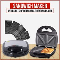 Shop LC Black Gray Sandwich Maker Toaster 4 sets of Detachable Heating Plates