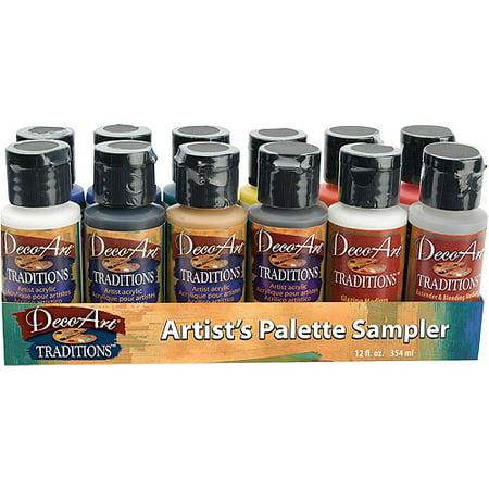 Deco Art Traditions Acrylic Palette Sampler 1 Ounce, 12/pkg (Palette Acrylic Film)