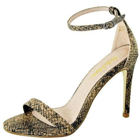 Floral-16 Women Ankle Strap Stiletto High Heel Open Toe Snake Python Print Skin Sandals Pump