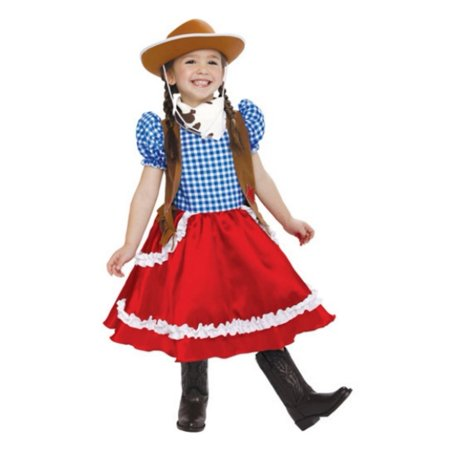 PMG Toddler Girls American Cowgirl Costume With Dress Scarf & Cowboy Hat (Cowgirl Western Dresses)