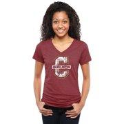 Charleston Cougars Women's Classic Primary Tri-Blend V-Neck T-Shirt - Garnet