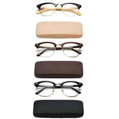 High Quality Fashion Reading Glasses for Men Retro Vintage Reading Glasses Horn Rimmed Half Frame Reading Glasses with (Thick Rimmed Glasses For Men)