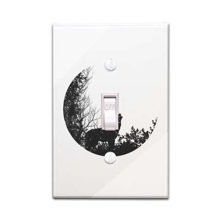 Housing 3 Light Trim - Coyote Howling - Moon Silhouette - Lantern Press Artwork (Light Switchplate Cover)