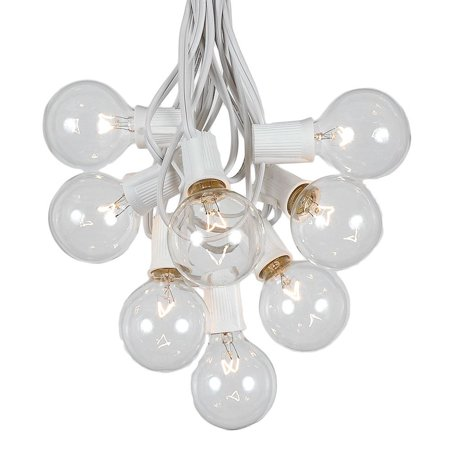 G50 Patio String Lights with 25 Clear Globe Bulbs – Outdoor String Lights – Market Bistro Café Hanging String Lights – Patio Garden Umbrella Globe Lights - Black Wire - 25 Feet ()