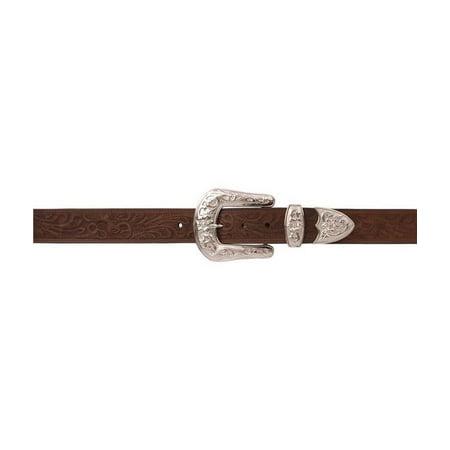 Angel Ranch Western Belt Womens Leather Floral Embossed Brown - Brown Womens Belt