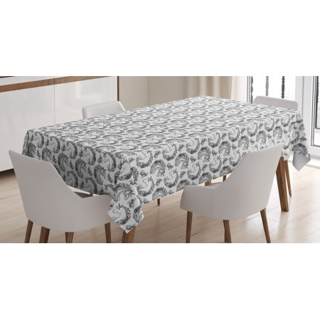 Animals With Tattoos (Tattoo Tablecloth, Fictional Animal and Orchids Unicorn Profile with Peacock Feathers on Its Mane Hair, Rectangular Table Cover for Dining Room Kitchen, 60 X 84 Inches, Black White, by)