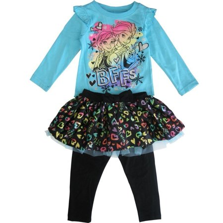 Disney Little Girls Blue Black Anna Elsa Frozen Heart Leggings 3 Pc Outfit 2T