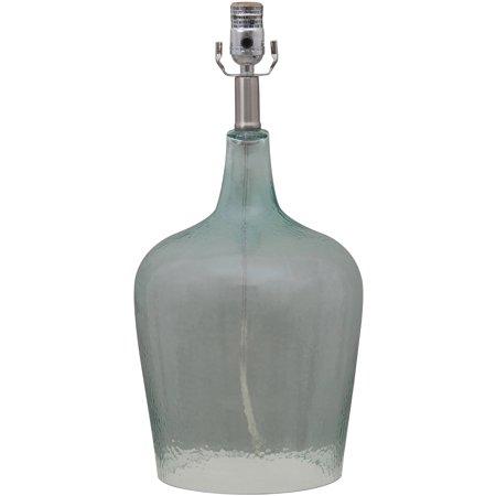 mainstays 19 sea glass table lamp base transparent blue cfl bulb. Black Bedroom Furniture Sets. Home Design Ideas