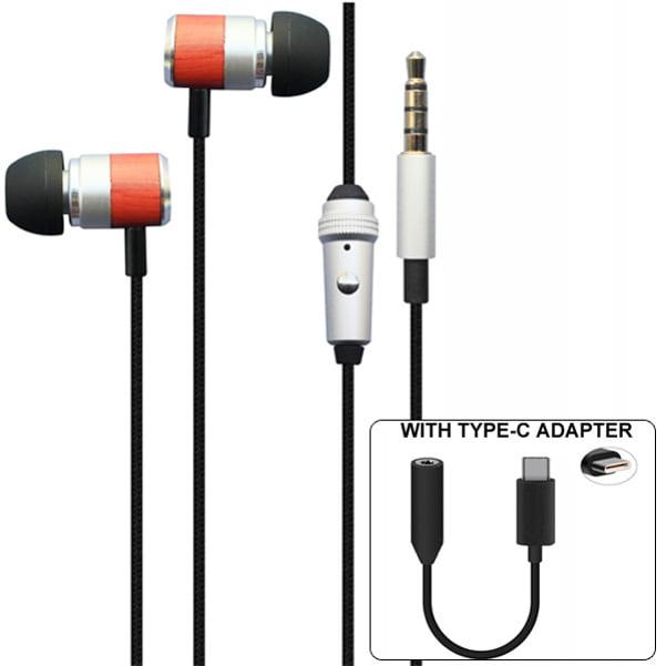 Premium Sound Hands-free Headset Earphones w Mic TYPE-C Audio Adapter Compatible With HTC U12 Plus