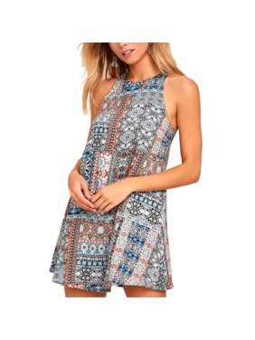 bc1fa41b527 Product Image Summer New Women s Casual Vintage Printed Vest Dresses Round  Collar Sleeveless Beach Skirt