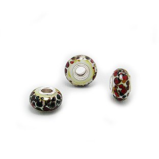 cf64c99e1 Cheneya Glass Bead in Red and Silver - Compatible with Pandora, Chamilia,  Troll