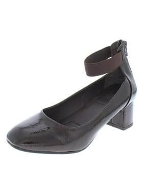 Womens White Mountain Makayla Ankle Strap Kitten Heels, Black Patent