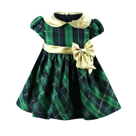 3def93087 Bonnie Jean - Bonnie Baby Baby Girls Green Plaid Holiday Dress- Infant Baby  dresses - Walmart.com